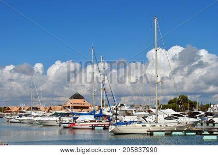 Vilamoura Algarve Portugal - October 26 2015: Luxury yachts in Vilamoura Marina