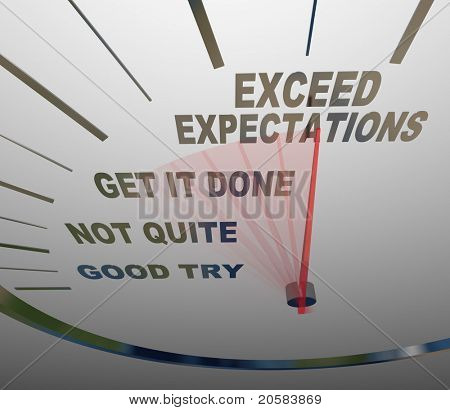 A speedometer with the words Exceed Expectations represents the surpassing of expectations of the people you deal with, whether they are customers, superiors or others who need things from you poster