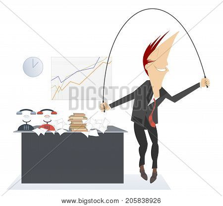 Active recreation on the business place. Active businessman has a rest and jumps at the office using a skip rope