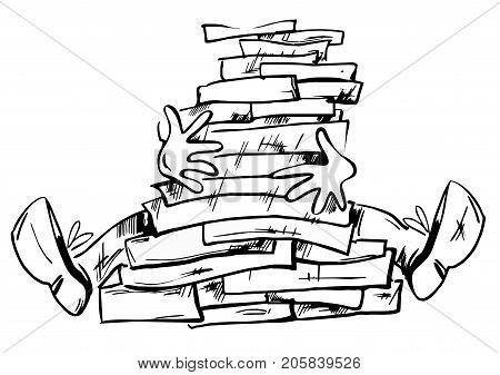 Too many documents or books in the man hands hand drawn illustration isolated. Hands and legs of the man appear from a big pile of books or documents