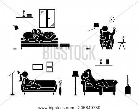 Stick figure resting at home position set. Sitting lying listening to music using laptop drinking wine vector icon relaxing woman posture on sofa and armchair. Furniture silhouette pictogram