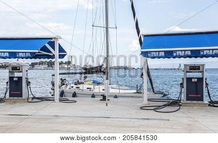 SPLIT, CROATIA - JULY 13, 2017: boat petrol station in Split Croatia