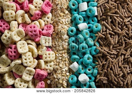 Close-up of various breakfast cereals