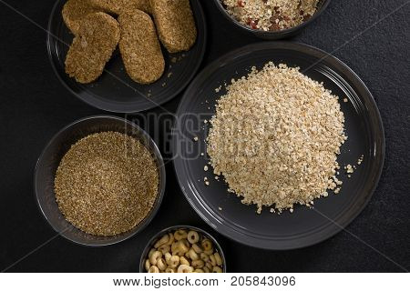 Close-up of various breakfast cereals in bowl