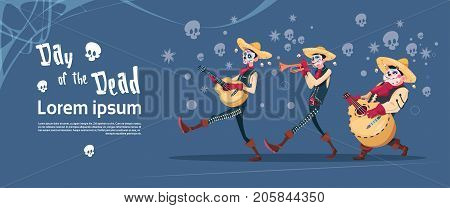 Day Of Dead Traditional Mexican Halloween Holiday Party Decoration Banner Invitation Flat Vector Illustration