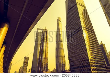 In the picture is jin mao tower,shanghai tower,shanghai world financial center,shanghai,china.