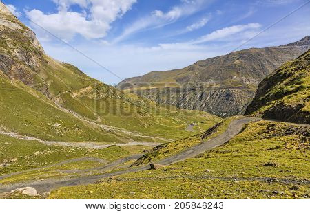 Image of the road to the glacial Circus of Troumouse one of the largest from the Europe.