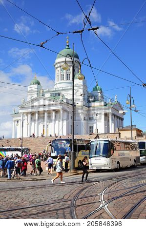 Helsinki, Finland - July 26, 2017: The Senate Square and Cathedral in Helsinki