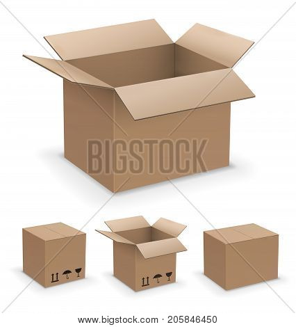 Vector rectangl shape box set, recycle or packaging brown cardboard boxes collection, open, closed and sealed