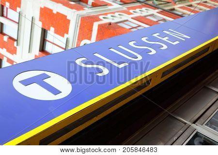 Stockholm, Sweden - July 25, 2017: Angle shot of sign board of Slussen metro station in Stockholm