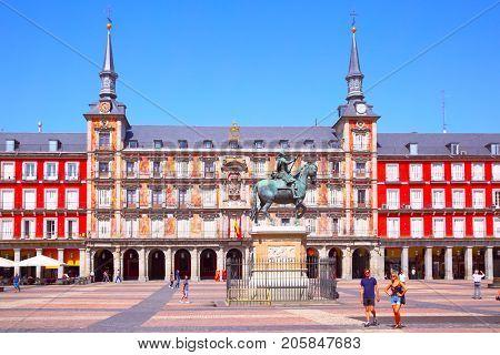 Madrid, Spain - September 2, 2016: The Main Square (Plasa Mayor) in Madrid