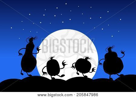 Silhouette Monsters In Moonlight Scary Shadows Happy Halloween Banner Trick Or Treat Concept Holiday Flat Vector Illustration