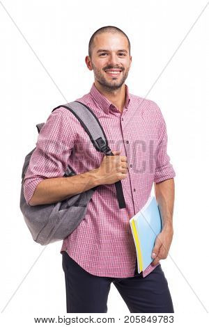 Smiling student holding textbooks on white background poster