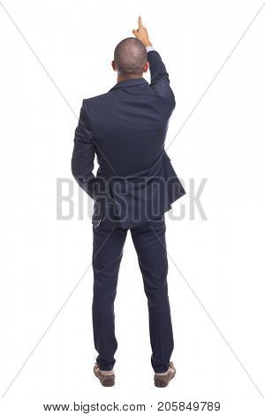 Business man pointing with finger, isolated over a white background