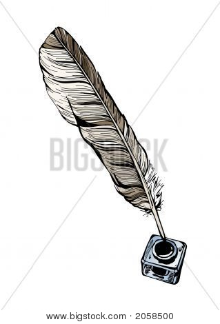 Vector Inkwell And Feather