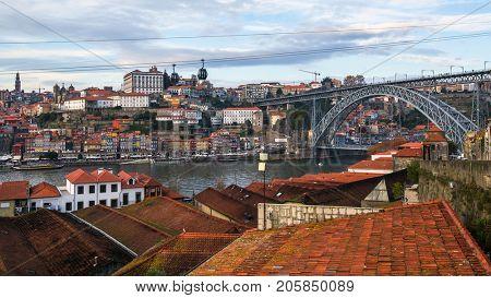 Top view of Douro river and Dom Luis I bridge, Porto, Portugal.