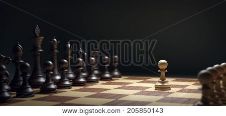 A Chess-Army is standing on a board. White pawn vs dark army. Illustration, 3d illustration.