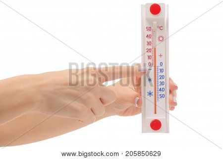 Female hand room thermometer on white background isolation