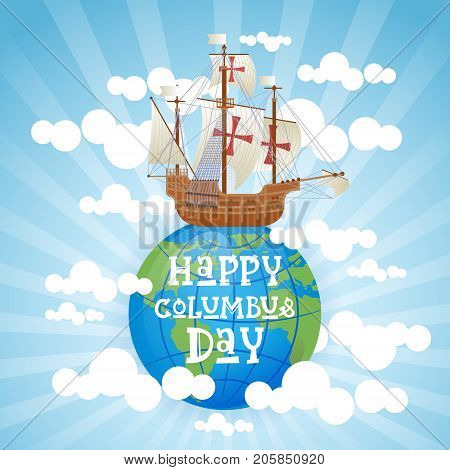 Happy Columbus Day National Usa Holiday Greeting Card With Ship Flat Vector Illustration