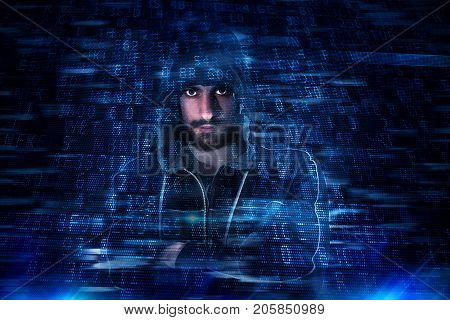 Hidden identity of a hacker with a man with hoodie