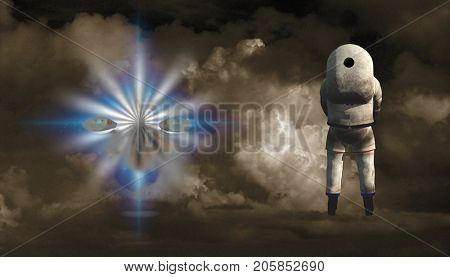 Surrealism. Astronaut stands before woman's face in clouds.  3D rendering