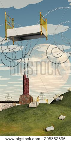 Complex surreal painting. Beds in green hills. Factory with poem lines comes from pipes. Moon and big bed in the sky.  3D rendering