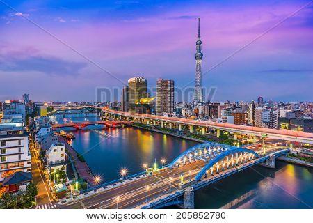 Tokyo, Japan skyline in the Sumida district.
