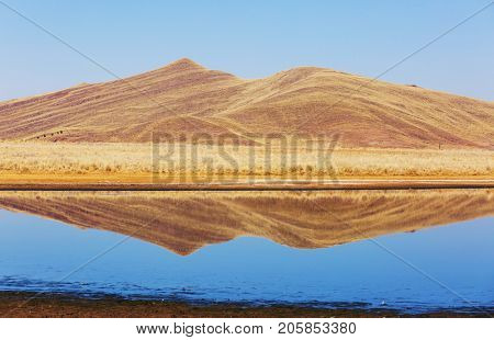 Picturesque lake in peruvian Andes