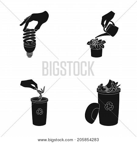 Energy-saving light bulb, watering a houseplant and other  icon in black style. garbage can with waste and garbage icons in set collection.