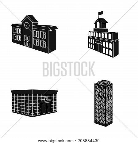 Bank office, skyscraper, city hall building, college building. Architectural structure set collection icons in black style vector symbol stock illustration .