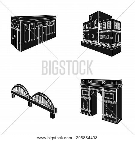 Arc de Triomphe in Paris, Reinforced bridge, cafe building, House in Scandinavian style. Architectural building set collection icons in black style vector symbol stock illustration .