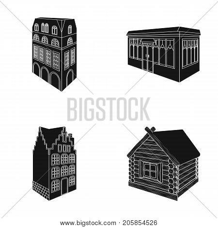 Residential house in English style, a cottage with stained-glass windows, a cafe building, a wooden hut. Architectural building set collection icons in black style vector symbol stock illustration .