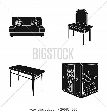 Soft sofa, toilet make-up table, dining table, shelving for laundry and detergent. Furniture and interior set collection icons in black style isometric vector symbol stock illustration .