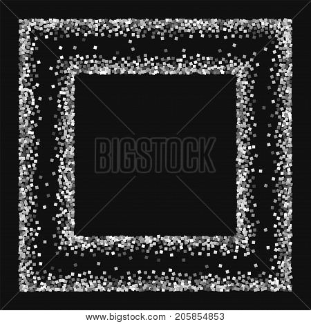Silver Glitter. Square Chaotic Frame With Silver Glitter On Black Background. Remarkable Vector Illu
