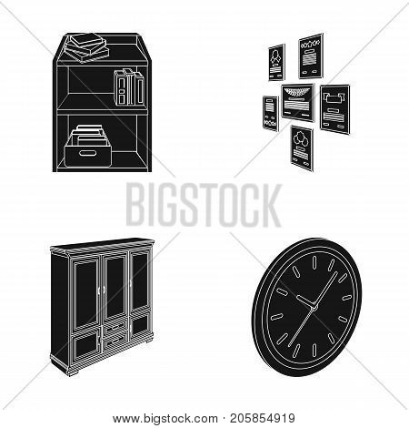 Cabinet, shelving with books and documents, frames on the wall, round clocks. Office interior set collection icons in black style isometric vector symbol stock illustration .