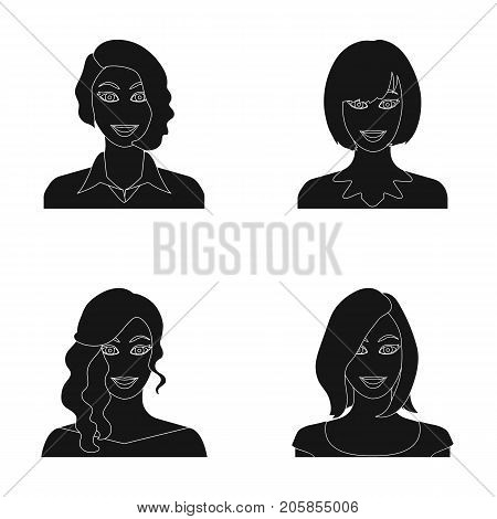 The appearance of a woman with a hairdo, the face of a girl. Face and appearance set collection icons in black style vector symbol stock illustration .