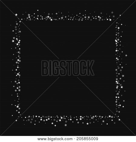 Amazing Falling Stars. Square Abstract Shape With Amazing Falling Stars On Black Background. Delight