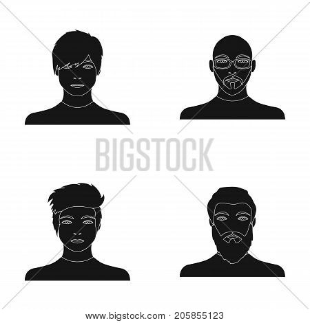 The face of a Bald man with glasses and a beard, a bearded man, the appearance of a guy with a hairdo. Face and appearance set collection icons in black style vector symbol stock illustration .