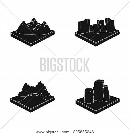 Mountains, rocks and landscape. Relief and mountains set collection icons in black style isometric vector symbol stock illustration .