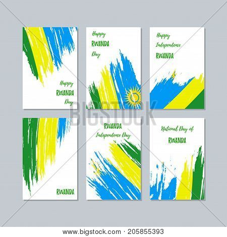 Rwanda Patriotic Cards For National Day. Expressive Brush Stroke In National Flag Colors On White Ca