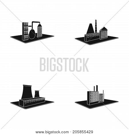 Processing factory, metallurgical plant. Factory and industry set collection icons in black style isometric vector symbol stock illustration .