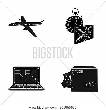 Transport aircraft, delivery on time, computer accounting, control and accounting of goods. Logistics and delivery set collection icons in black style isometric vector symbol stock illustration .