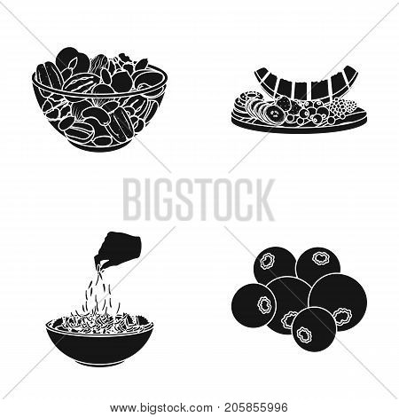 Assorted nuts, fruits and other food. Food set collection icons in black style vector symbol stock illustration .