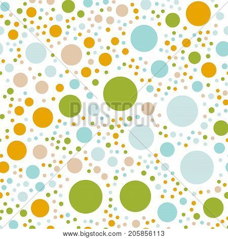 Colorful Polka Dots Seamless Pattern On White 1 Background. Exceptional Classic Colorful Polka Dots