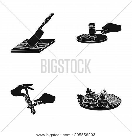 Cutlass on a cutting board, hammer for chops, cooking bacon, eating fish and vegetables. Eating and cooking set collection icons in black style vector symbol stock illustration .