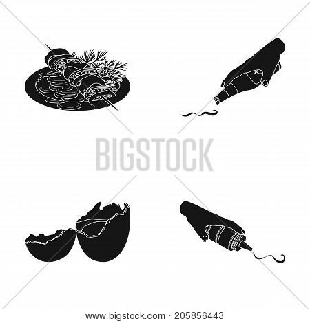 Shish kebab with vegetables, ketchup and mustard, seasoning for food, broken egg. Food and Cooking set collection icons in black style vector symbol stock illustration .