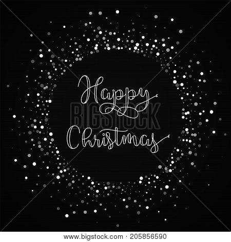 Happy Christmas Greeting Card. Random Falling White Dots Background. Random Falling White Dots On Bl
