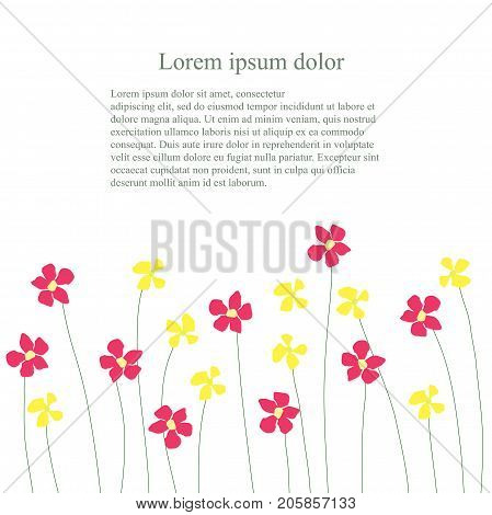Background with red and yellow flowers billow on white, Lorem ipsum stock vector illustration