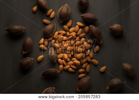 Clean and de-shelled almonds surrounded by almonds seeds with hard shells.