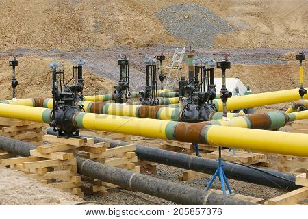 Construction work place  Gas pipeline Hessen Germany